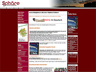 Sphäre Online Screendesign ab 29. 11. 2005 bis 29. 11. 2010