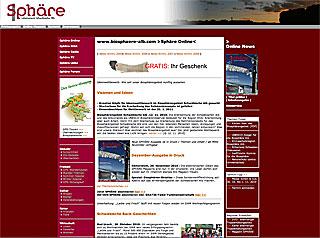 Sphäre Online Screendesign ab 29. 11. 2005 bis 29. 11. 2010